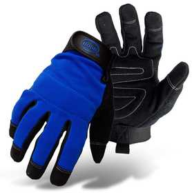 Boss Mfg Co 5205L Blue Mechanic Hi Dexterity Back Leather Palm Glove Large