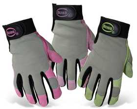 Boss Mfg Co 790 Boss Guard Ladies' Split Leather Gray Palm Gloves With Colored Lycra Back And Adjustable Wrist