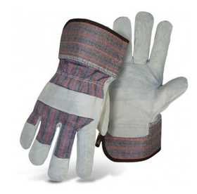 Boss Mfg Co 4094 Standard Grade Split Leather Palm Gray And Plaid Glove With Rubberized Safety Cuff Size Large