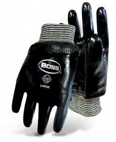 Boss Mfg Co 931 Boss Chemguard Neoprene Black Gloves With Knit Wrist Size Large
