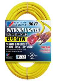 US Wire & Cable 74050 12/3 50 ft Yellow Heavy Duty Lighted Plug Extension Cord