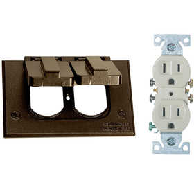 Sigma Electric/Gampak 14227BR Horizontal Bronze Duplex Cover With Receptacle