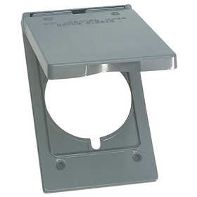 Sigma Electric/Gampak 14244 1-Gang Gray Vertical Round Receptacle Cover