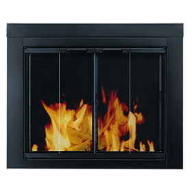 GHP Group AT-1001 Glass Door Fire Screen Ascot Midnight Black Finish Medium