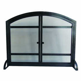 GHP Group FA338S Fireplace Screen With Doors Harper Antique Black Finish