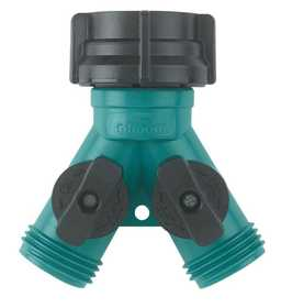 Gilmour 17 Garden Hose Plastic Y-Connect With Dual Shut-Off Valve