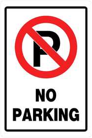 Hillman 840014 No Parking Sign 18x12 Red/Black/White