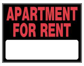 Hillman 842178 Apartment For Rent Sign 15x19