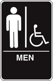 Hillman 844148 Ada Braille Men Handicapped Sign 6x9