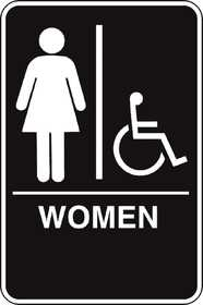 Hillman 844150 Ada Braille Women Handicapped Sign 6x9