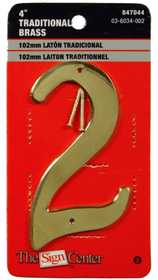 Hillman 847044 #2 - 4 in Traditional Solid Brass House Numbers