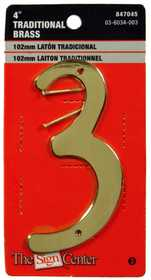 Hillman 847045 #3 - 4 in Traditional Solid Brass House Numbers