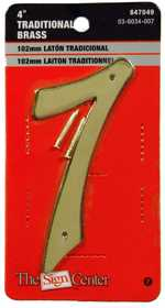 Hillman 847049 #7 - 4 in Traditional Solid Brass House Numbers