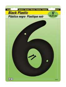 Hy-Ko Products 30206 Number Plastic Black 6 in 6