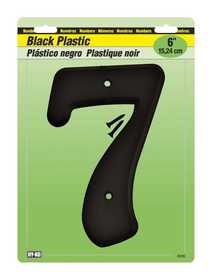 Hy-Ko Products 30207 Number Plastic Black 6 in 7