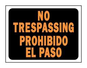 Hy-Ko Products 3070 English/Spanish Sign No Trespassing