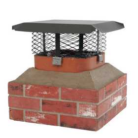 HY C COMPANY SCADJ-L Black Galvanized Steel Adjustable Single Flue Chimney Cap, Large
