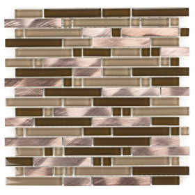ICL H-468 Metal Wave Collection H468 12x12 in Mosaic Tile Sheet