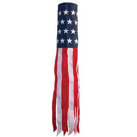 In The Breeze ITB-4112 United States Stars And Stripes Embroidered Hanging Garden Windsock 40 in