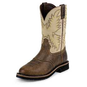 JUSTIN BOOTS WK4660 Men's Waxy Brown Stampede Work Boots 10.5d