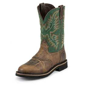 JUSTIN BOOTS WK4670 Men's Rugged Tan Stampede Work Boots 11.5d