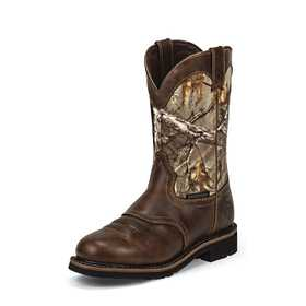 JUSTIN BOOTS WK4675 Men's Rugged Tan Cowhide Stampede Waterproof Work Boots 9ee