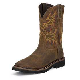 JUSTIN BOOTS WK4681 Men's Rugged Tan Cowhide Stampede Work Boots 10.5d