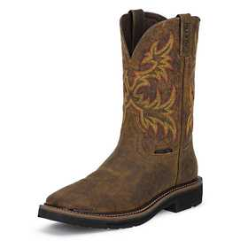JUSTIN BOOTS WK4682 Men's Rugged Tan Cowhide Stampede Steel Toe Work Boots 10.5d