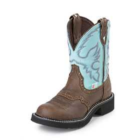 JUSTIN BOOTS L9915 Women's Brown Gypsy Waterproof Boots With Light Blue Top 9b