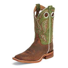 JUSTIN BOOTS BR307 Men's Cognac Bent Rail Boots With Green Top 9.5ee
