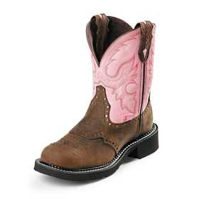 JUSTIN BOOTS L9901 Women's Brown Gypsy Boots With Pink Top Size 10