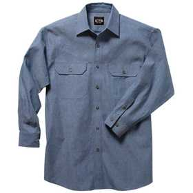 Key Industries 517.45 Blue Chambray Long Sleeve Work Shirt, Medium Regular