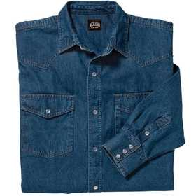 Key Industries 541.45 Long Sleeve Denim Western Shirt, Large Tall