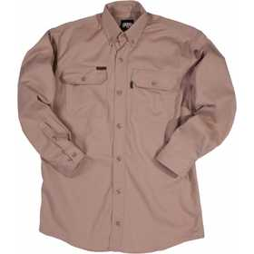Key Industries 564.24 Flame Resistant Long Sleeve Button Twill Shirt, Khaki Large Regular