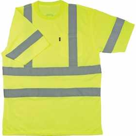 Key Industries 828.39 ANSI Class 3 Hi-Visibility Short Sleeve Pocket T-Shirt, Yellow X-Large