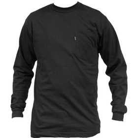 Key Industries 860.01 Heavyweight Long Sleeve Pocket T-Shirt, Black Medium Regular