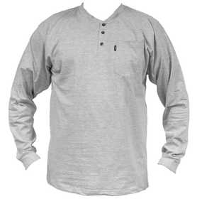 Key Industries 865.05 Heavyweight Long Sleeve 3-Button Henley Pocket T-Shirt, Heather Gray X-Large Regular
