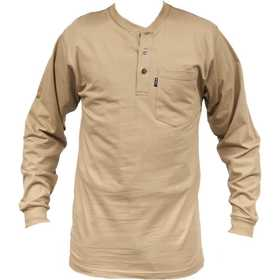 Key Industries 865.24 Heavyweight Long Sleeve 3-Button Henley Pocket T-Shirt, Khaki 3XLarge Regular