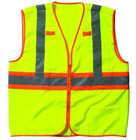 Key Industries 89.39 ANSI II Class 2 Hi-Visibility Solid Vest, Yellow Medium Regular