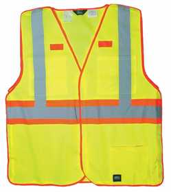 Key Industries 99.39 ANSI II Class 2 Hi-Visibility Break-A-Way Solid Vest, Yellow 2XLarge Regular