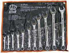 King Tools & Equipment 0003-0 11 -Piece 3/8 - 1 In Wrench With Roll Up Pouch