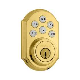 Kwikset 99090-017 909 3 Smt SmartCode™ Electronic Deadbolt Polished Brass