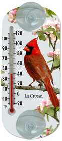 La Crosse 204-1081 6.5 in Cardinal Clear Window Thermometer