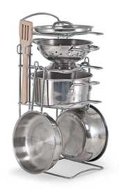 Melissa & Doug 4265 Let's Play House! Stainless Steel Pots & Pans Play Set