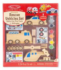 Melissa & Doug 9528 Decorate Your Own Wooden Rescue Vehicles Set