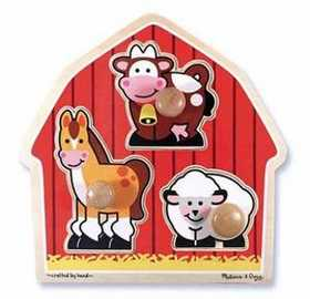 Melissa & Doug 2054 Barnyard Animals Jumbo Knob Puzzle 3 Pieces