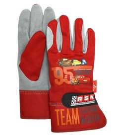 MIDWEST QUALITY GLOVES CRC27733K Disney Cars Red And Gray Leather Palm Gloves
