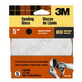 3M 9171ES Adhesive Backed 80 Grit 5 In Sanding Disc