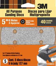 3M 9148W 5 in 8 Hole Hook & Loop Dust Free Sanding Disc 40 Grit