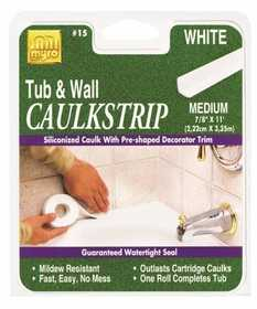 Homax Group 34015 Tub and Tile Caulking Strip 7/8 in x11 ft White